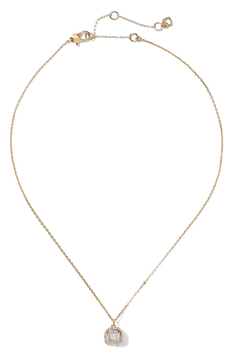 KATE SPADE NEW YORK brilliant statements pendant necklace, Main, color, CLEAR/ GOLD