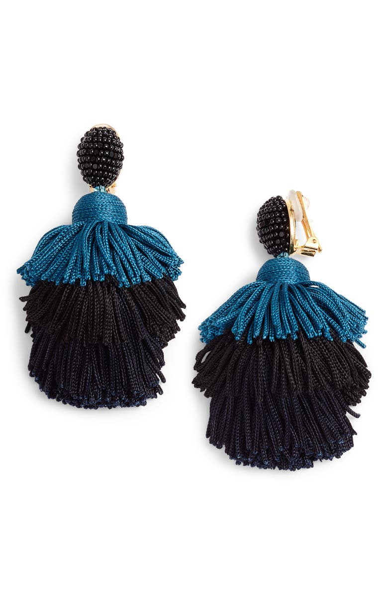 OSCAR DE LA RENTA Tiered Tassel Drop Earrings, Main, color, 002