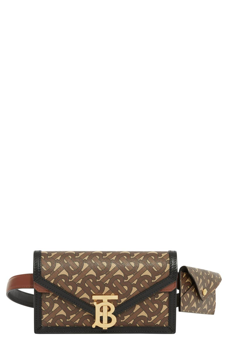 BURBERRY TB Monogram Wallet & Card Case Canvas Belt Bag, Main, color, 200