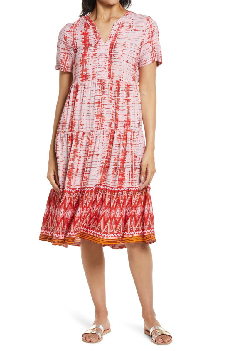 BEACHLUNCHLOUNGE Coley Print Tiered Shift Dress, Main, color, ASTER AURA