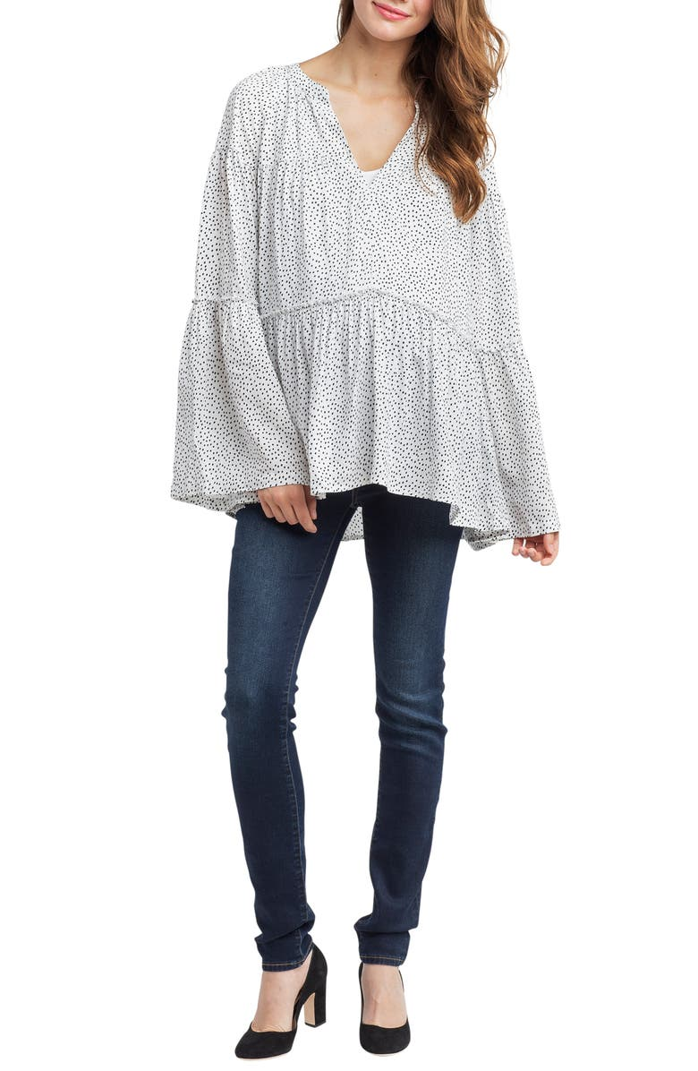 NOM MATERNITY Josephine Bell Sleeve Maternity Top, Main, color, 100