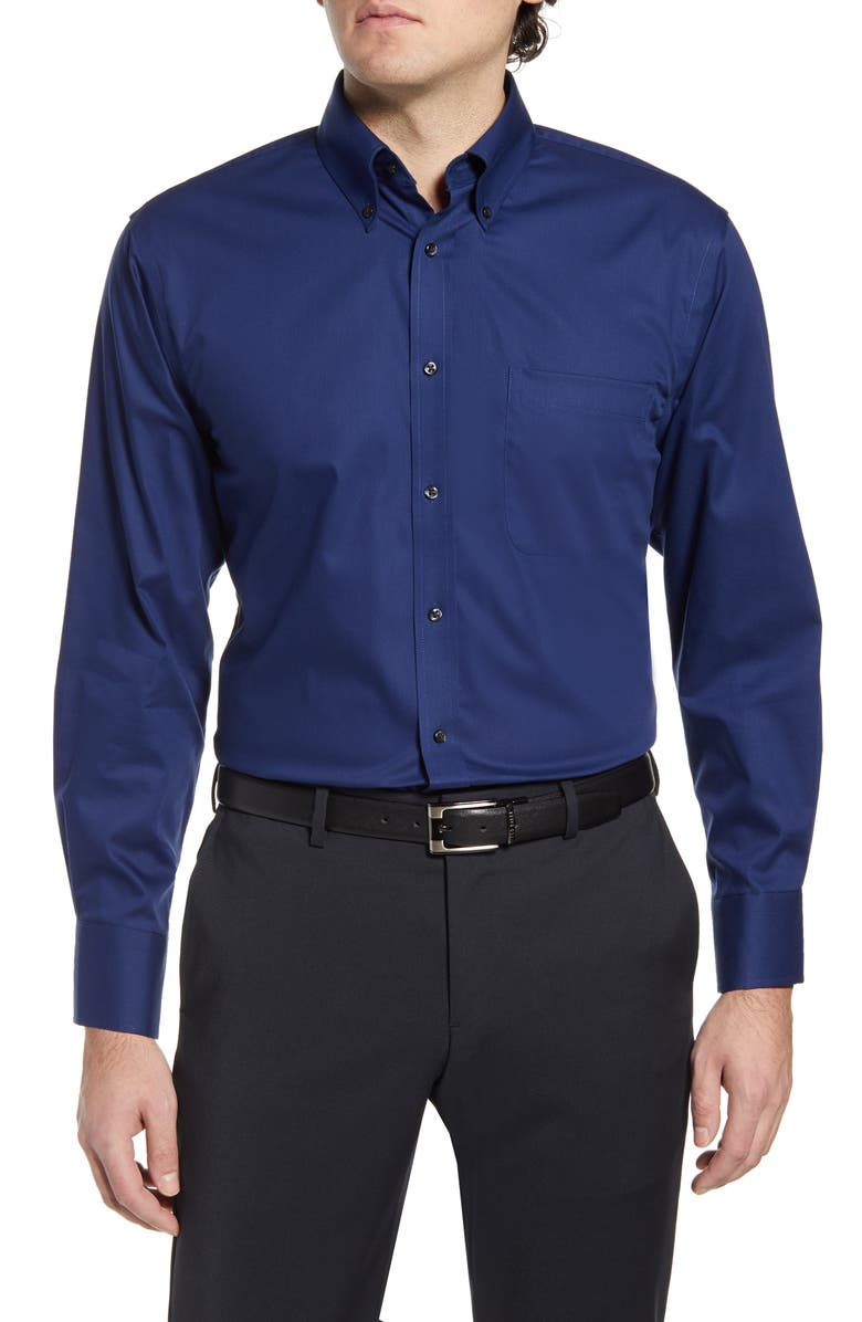 NORDSTROM Traditional Fit Non-Iron Dress Shirt, Main, color, NAVY MEDIEVAL