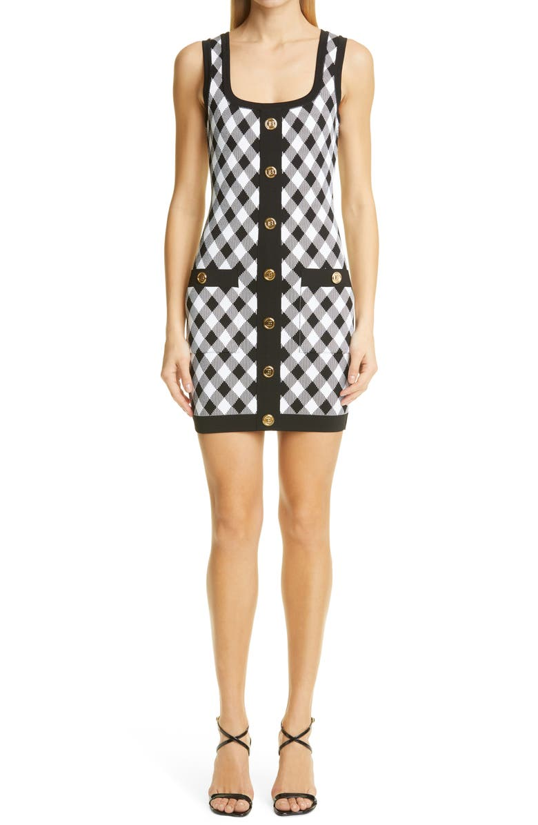 BALMAIN Gingham Jacquard Sweater Minidress, Main, color, NOIR/ BLANC