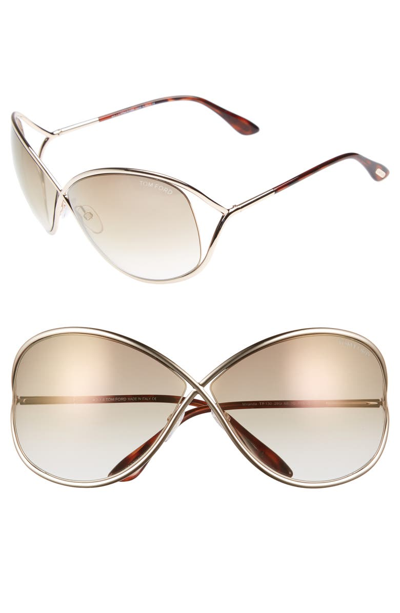 TOM FORD Miranda 68mm Open Temple Oversize Metal Sunglasses, Main, color, 713