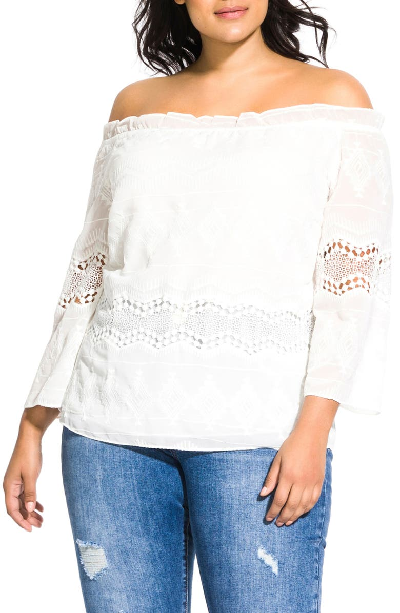 CITY CHIC Lace Darling Off the Shoulder Top, Main, color, 900