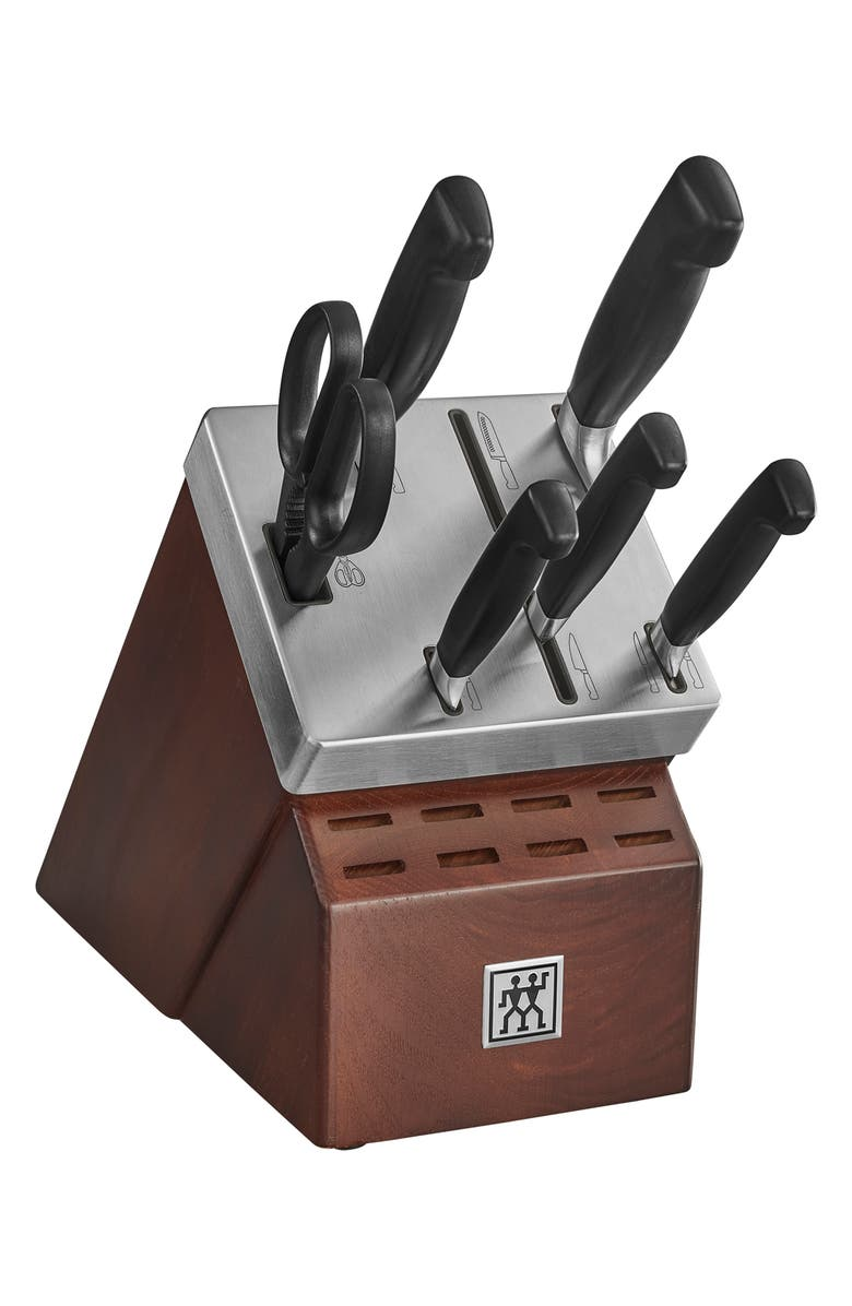 ZWILLING J.A. HENCKELS Four Star Self-Sharpening Knife Block & Knife Set, Main, color, STAINLESS STEEL