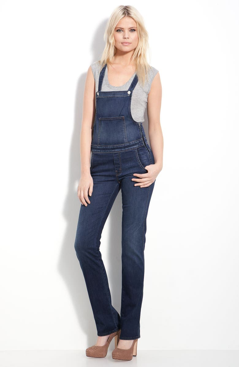 MOTHER 'Sweetheart' Stretch Denim Overalls, Main, color, STARDUST