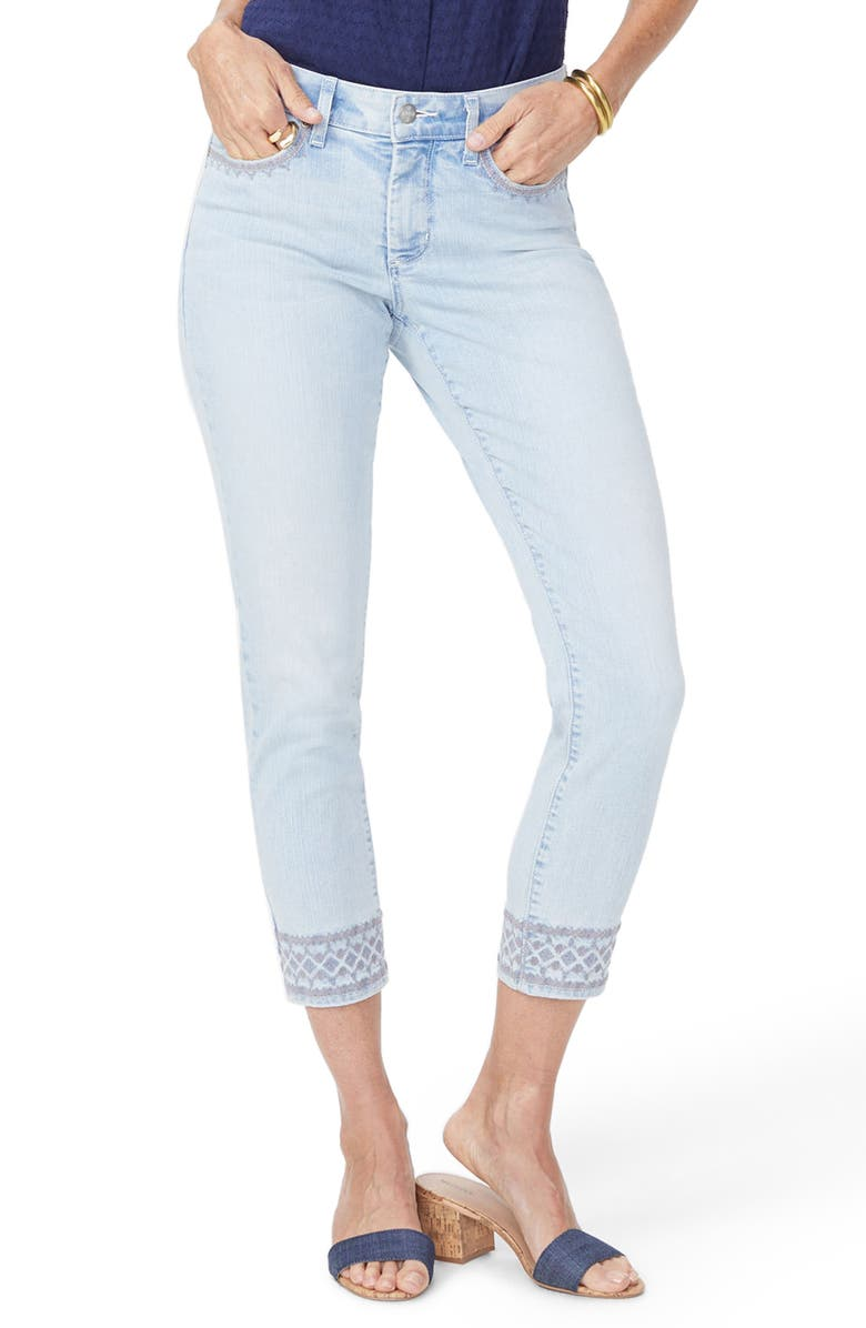 NYDJ Ami Embroidered Border Ankle Skinny Jeans, Main, color, 422