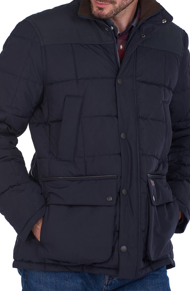 BARBOUR Navy Quilted Puffer Jacket, Main, color, 410