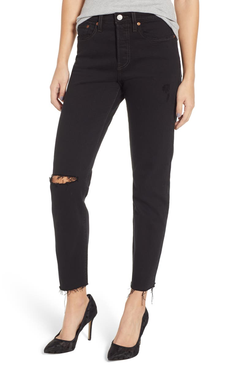 LEVI'S<SUP>®</SUP> Wedgie Icon Fit High Waist Ripped Skinny Jeans, Main, color, 001
