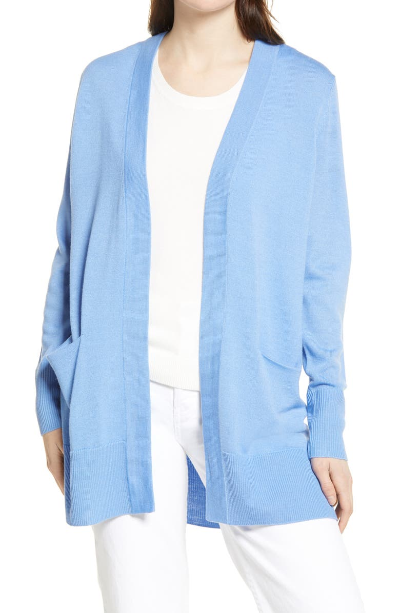 NORDSTROM Everyday Open Front Cardigan, Main, color, BLUE CORNFLOWER