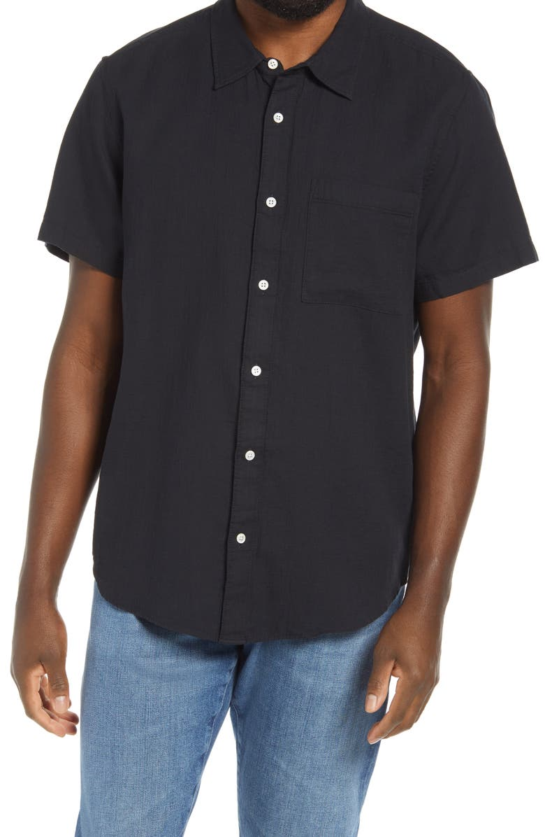 MADEWELL Perfect Textured Short Sleeve Button-Up Shirt, Main, color, ALMOST BLACK