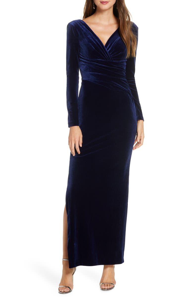 ELIZA J Long Sleeve Ruched Velvet Gown, Main, color, 410