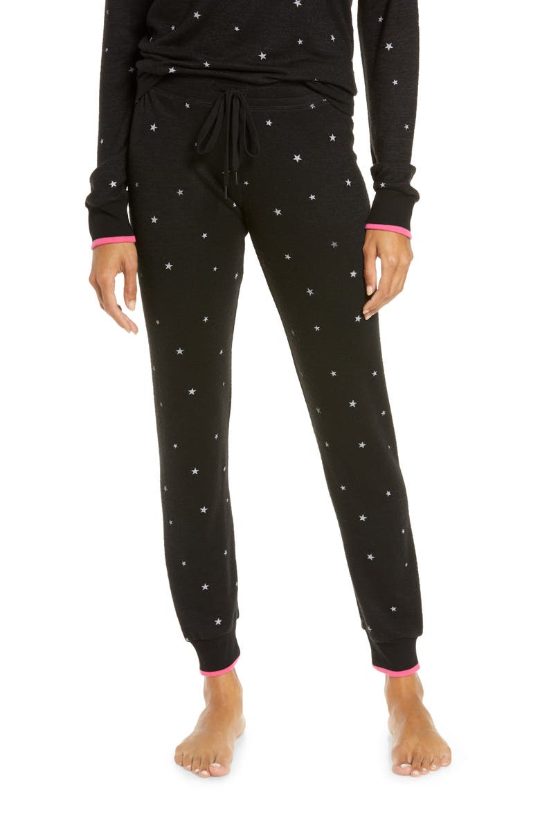 PJ SALVAGE Star Print Sweatpants, Main, color, 001