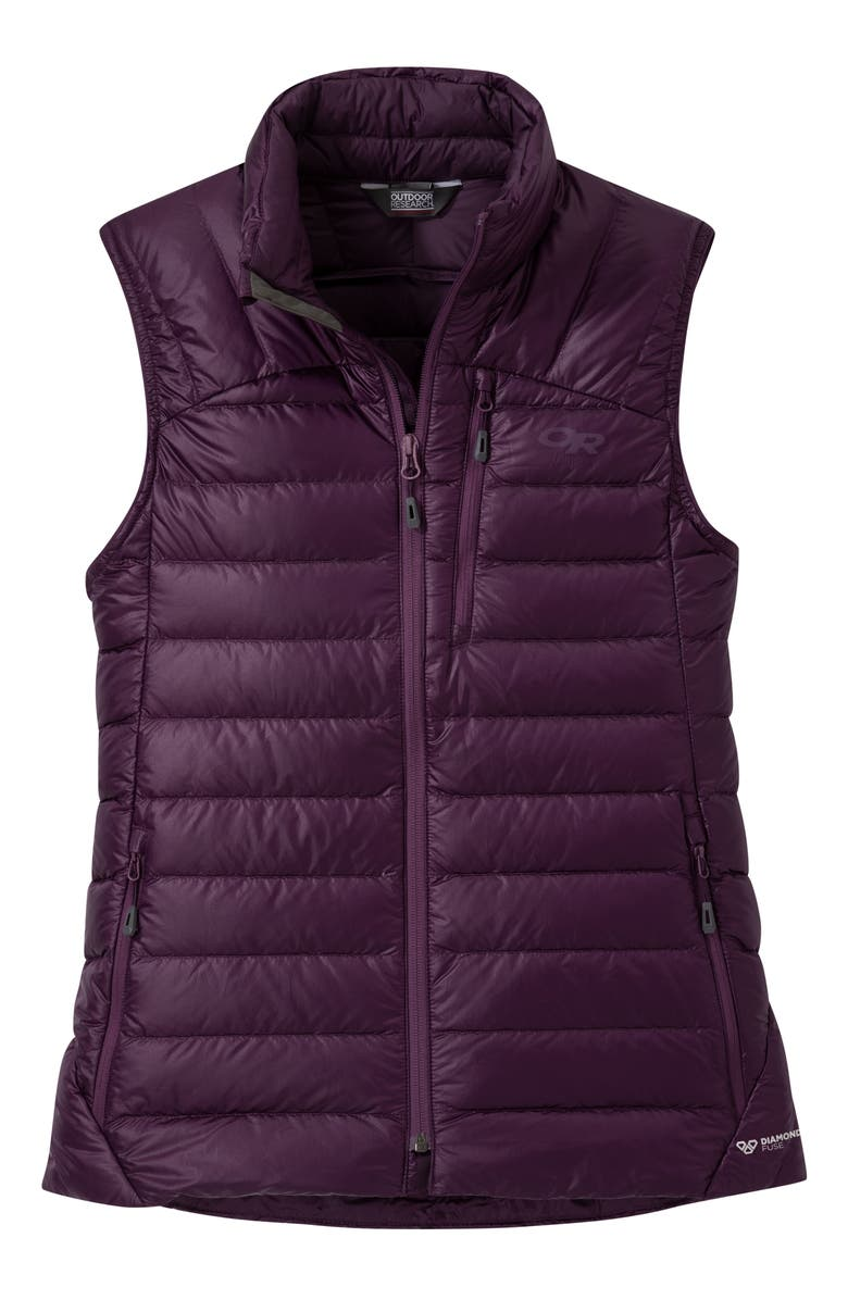 OUTDOOR RESEARCH Women's Helium 800 Fill Power Down Vest, Main, color, BLACKBERRY