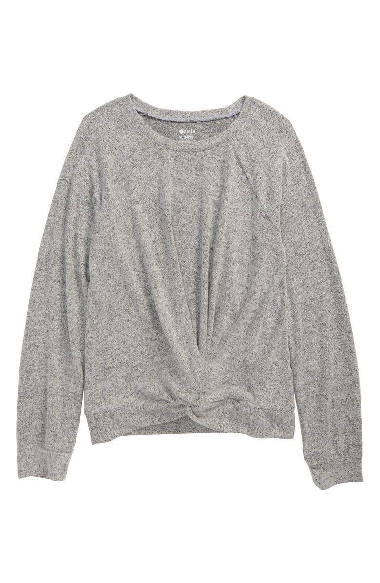 ZELLA GIRL Supersoft Twist Top, Main, color, GREY LIGHT HEATHER