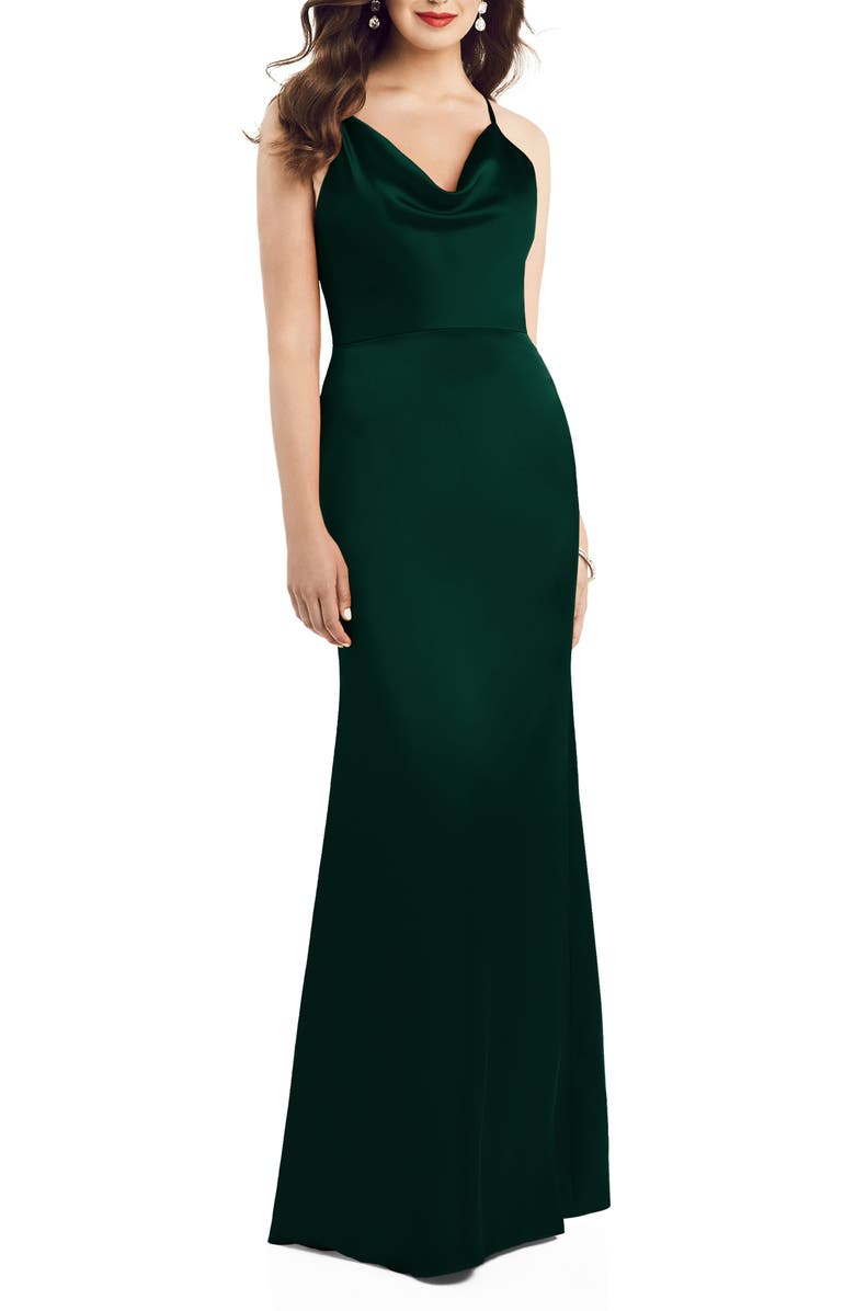 DESSY COLLECTION Dessy Colleciton Cowl Neck Charmeuse Trumpet Gown, Main, color, EVERGREEN