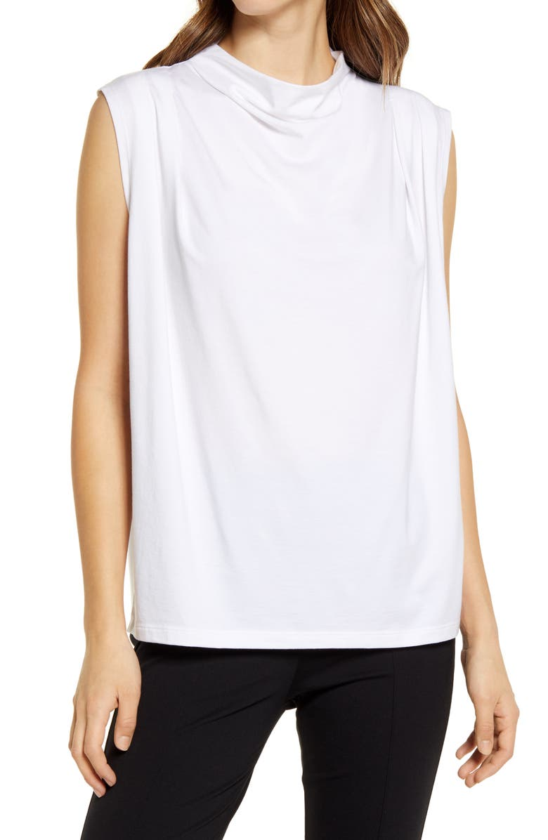 NORDSTROM Mock Neck Sleeveless Top, Main, color, IVORY CLOUD