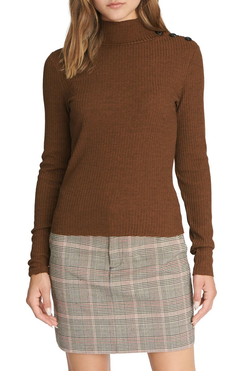 SANCTUARY Mandy Button Detail Mock Turtleneck Sweater, Main, color, 215