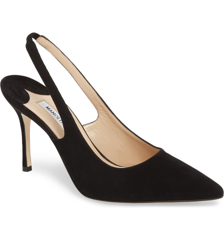 MANOLO BLAHNIK Allura Slingback Pointed Toe Pump, Main, color, 001