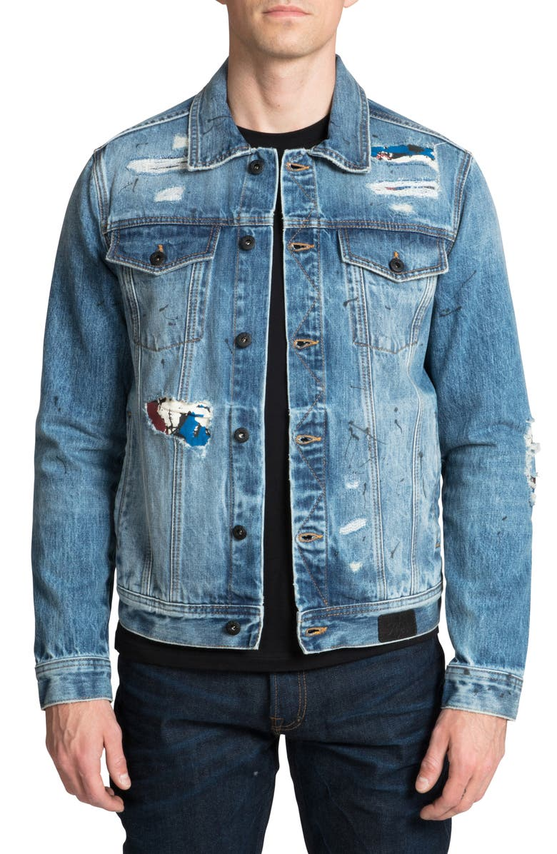 PRPS Ripped & Repaired Graphic Denim Trucker Jacket, Main, color, 400