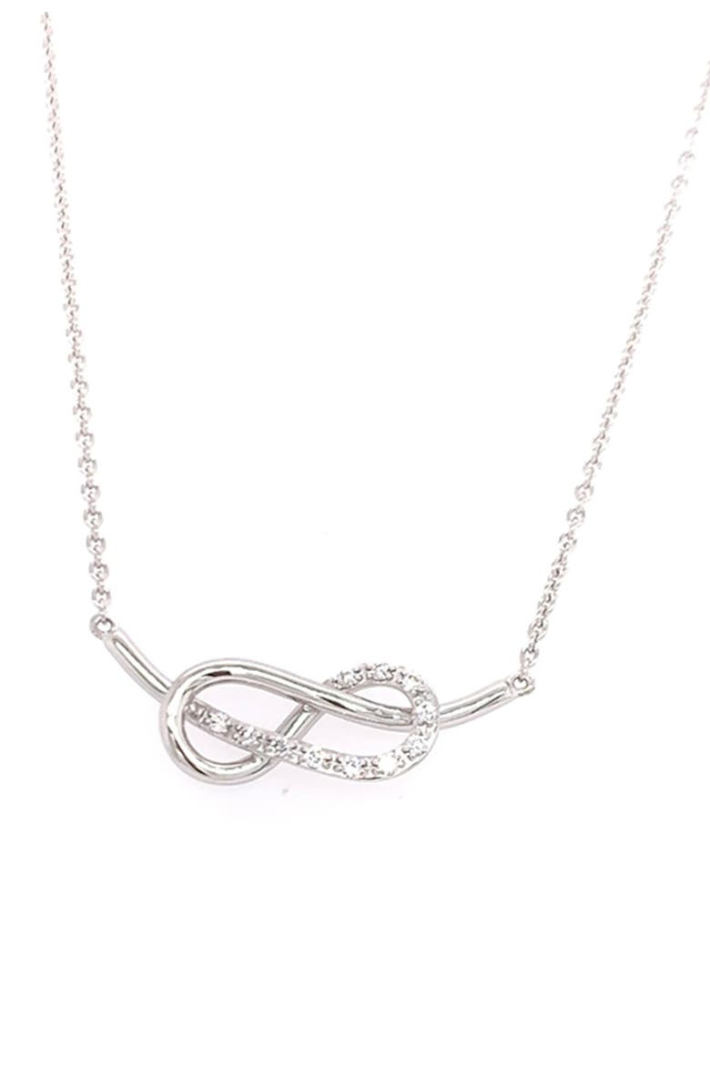 BREUNING 14K White Gold Diamond Infinity Pendant Necklace - 0.11 ctw, Main, color, SILVER