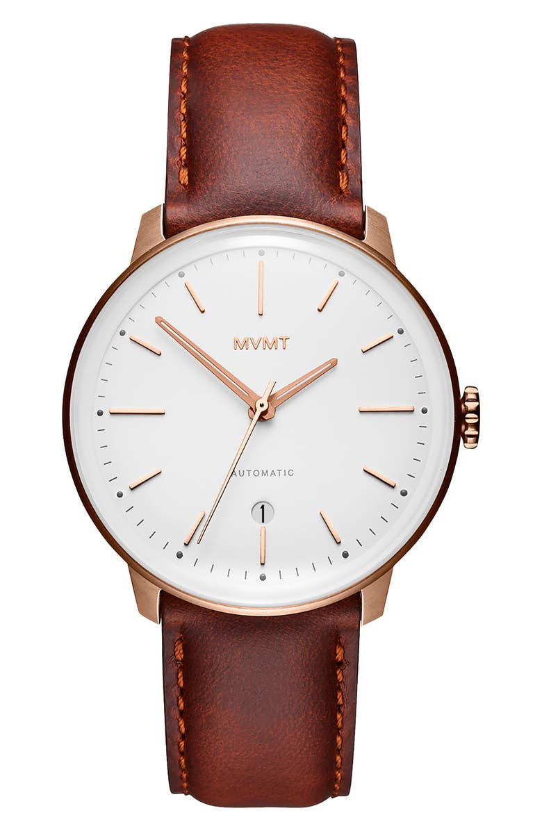 MVMT Arc Automatic Leather Strap Watch, Main, color, 200