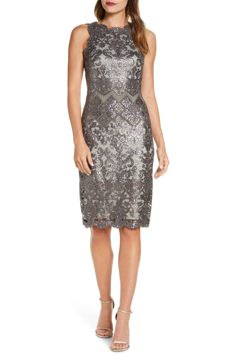 TADASHI SHOJI Sequin Lace Cocktail Dress, Main, color, 020