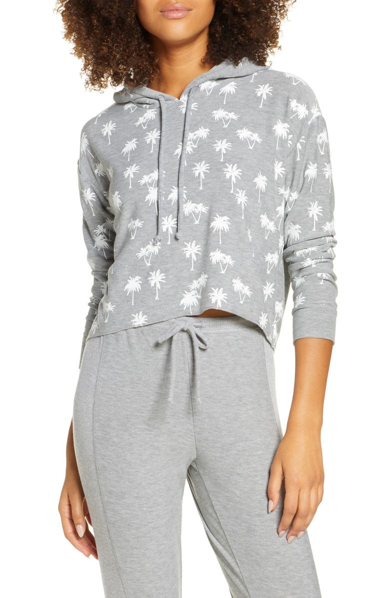 CHASER Palm Trees Crop Hoodie, Main, color, 020