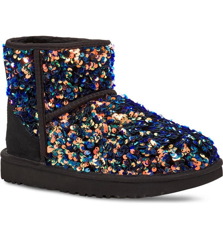 UGG<SUP>®</SUP> Mini Classic Stellar Sequin Boot, Main, color, BLACK SUEDE
