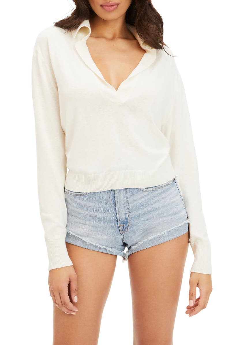 GOOD AMERICAN Collared Cotton Blend Sweater, Main, color, IVORY001