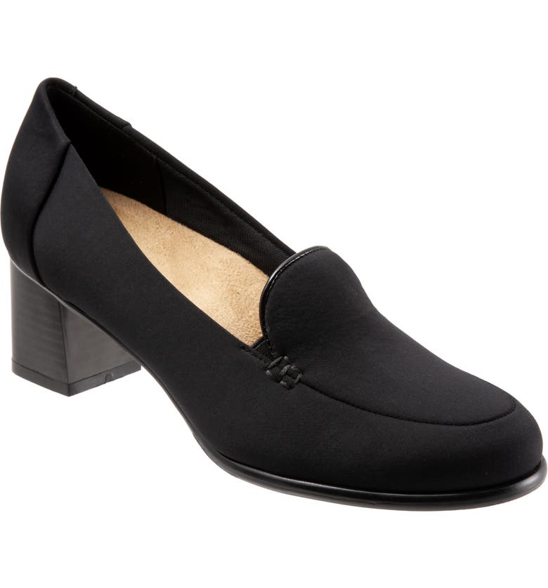 TROTTERS Quincy Loafer Pump, Main, color, BLACK STRETCH