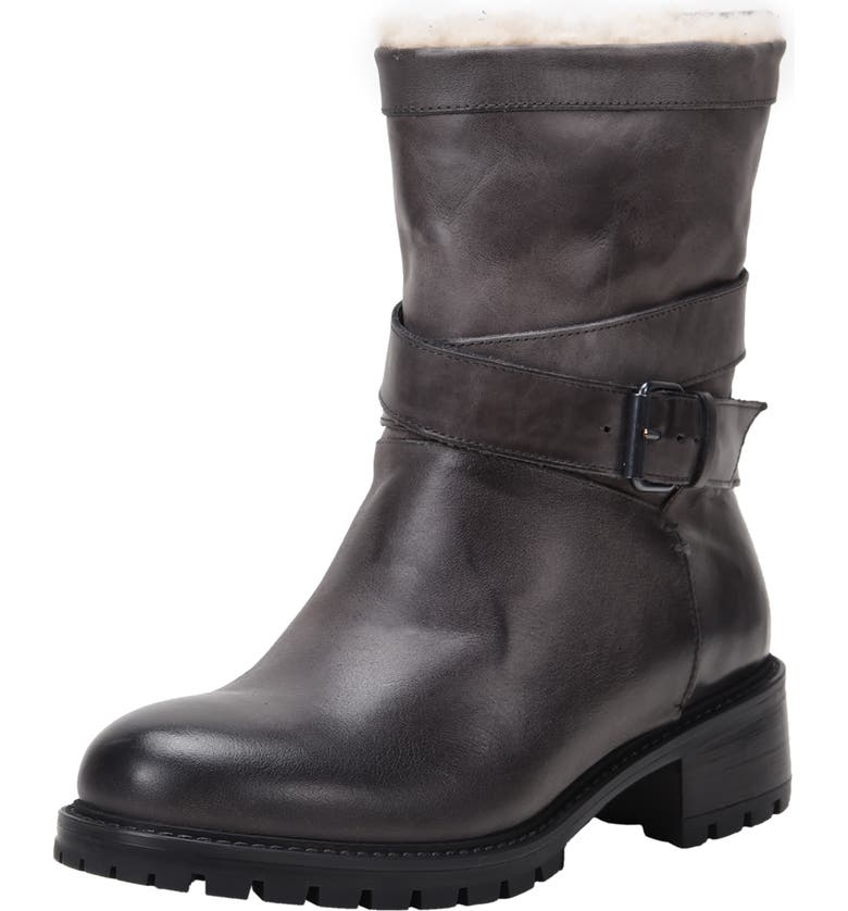 ROSS & SNOW Genuine Shearling Lined Moto Boot, Main, color, GREY LEATHER
