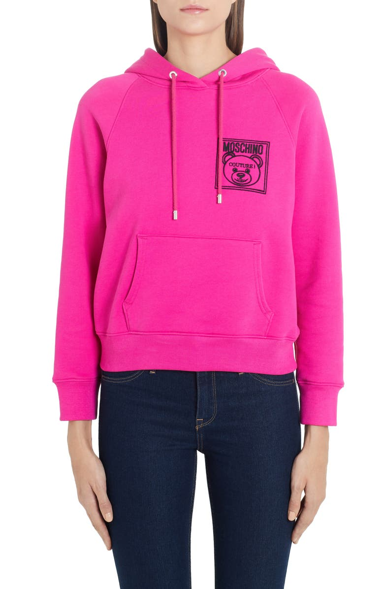 MOSCHINO Embroidered Teddy Logo Hoodie, Main, color, 699