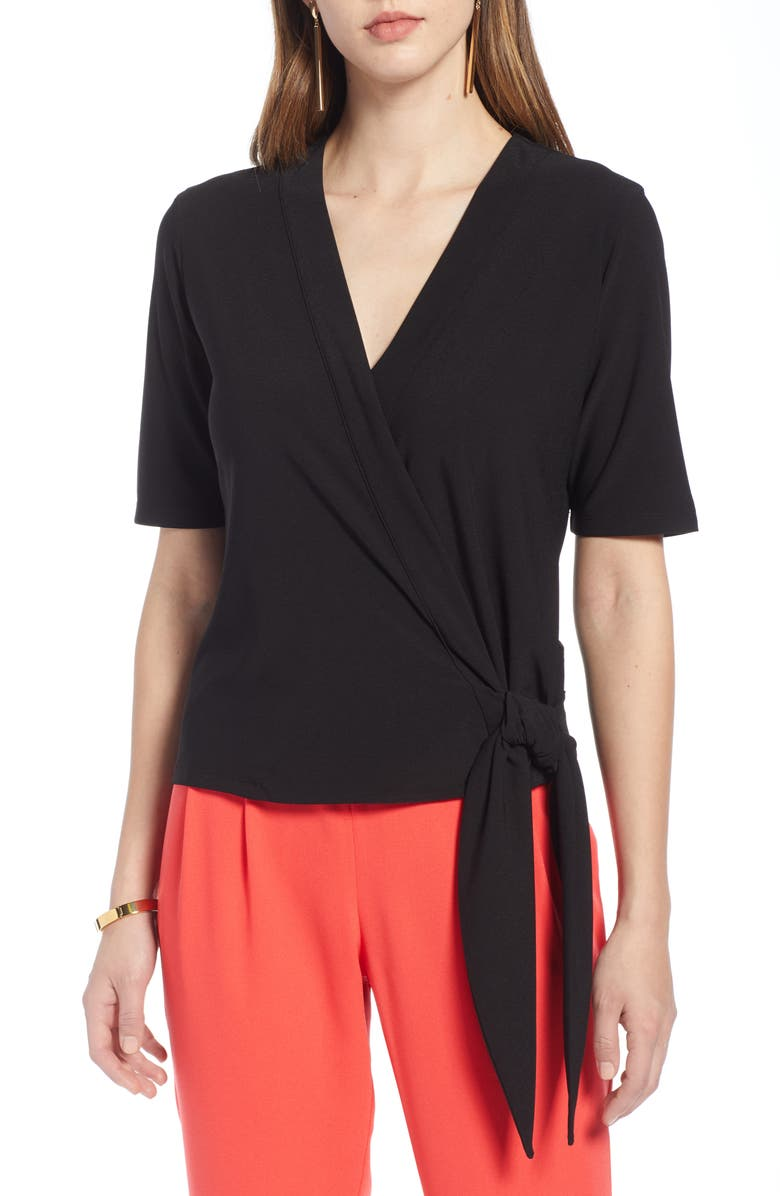 HALOGEN<SUP>®</SUP> Side Tie Wrap Top, Main, color, 001