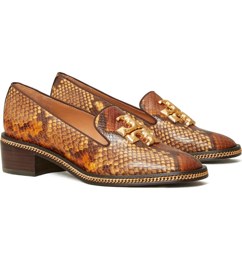 TORY BURCH Freya Snake Embossed Loafer, Main, color, DARK CARAMEL/ COCONUT