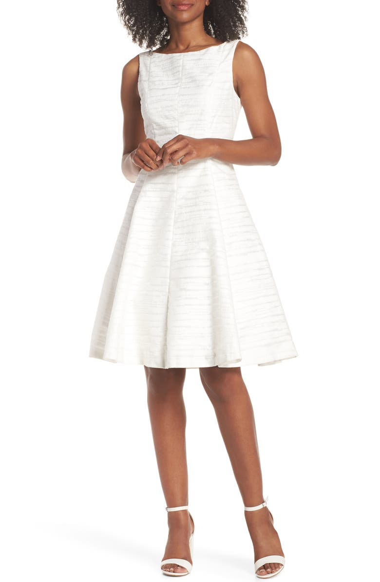 MAGGY LONDON Sleeveless Jacquard Fit & Flare Dress, Main, color, 101