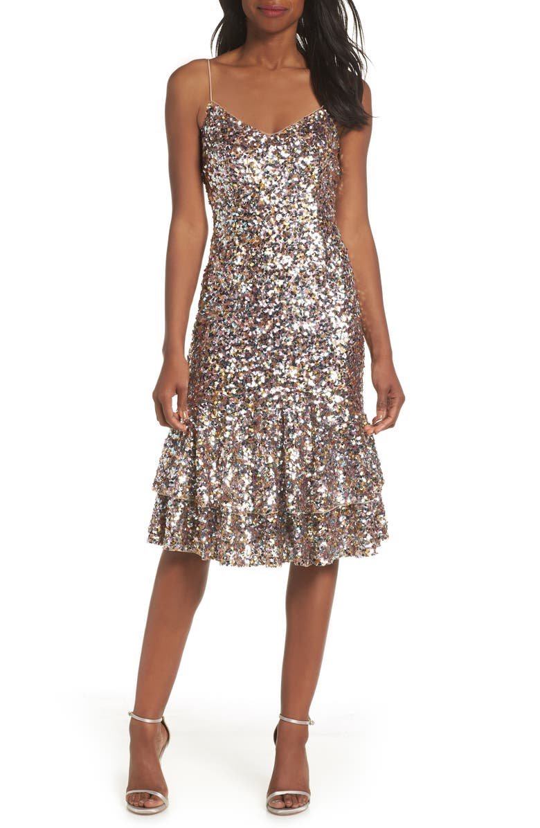 ADRIANNA PAPELL Ruffle Hem Sequin Cocktail Dress, Main, color, PINK MULTI
