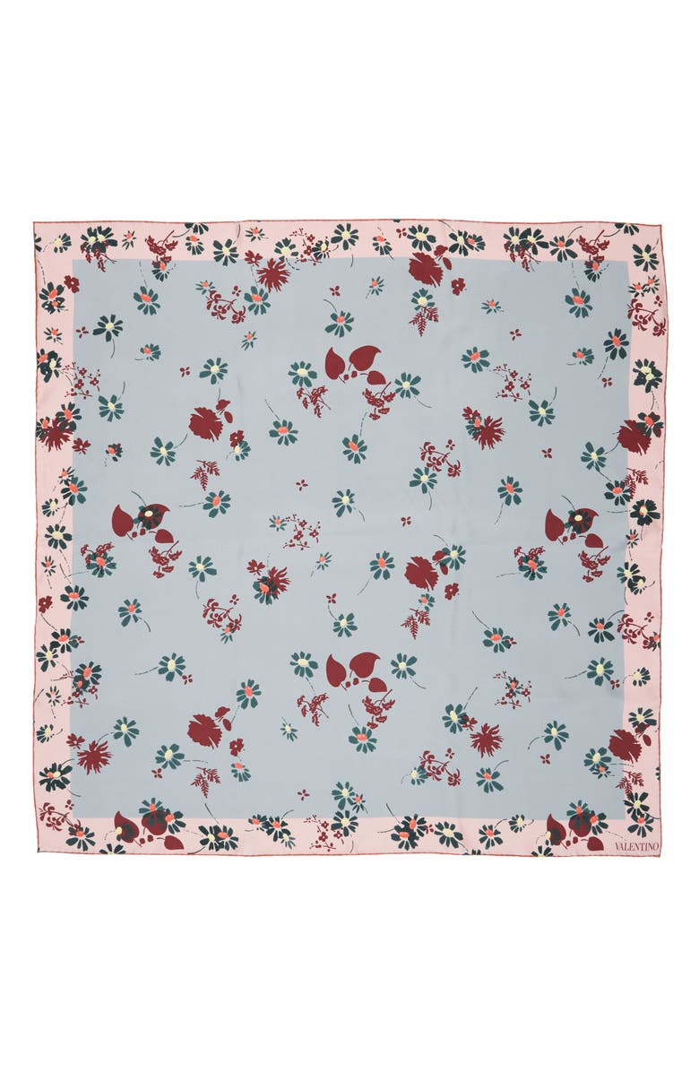 VALENTINO Flowers Fall Silk Scarf, Main, color, NUBE