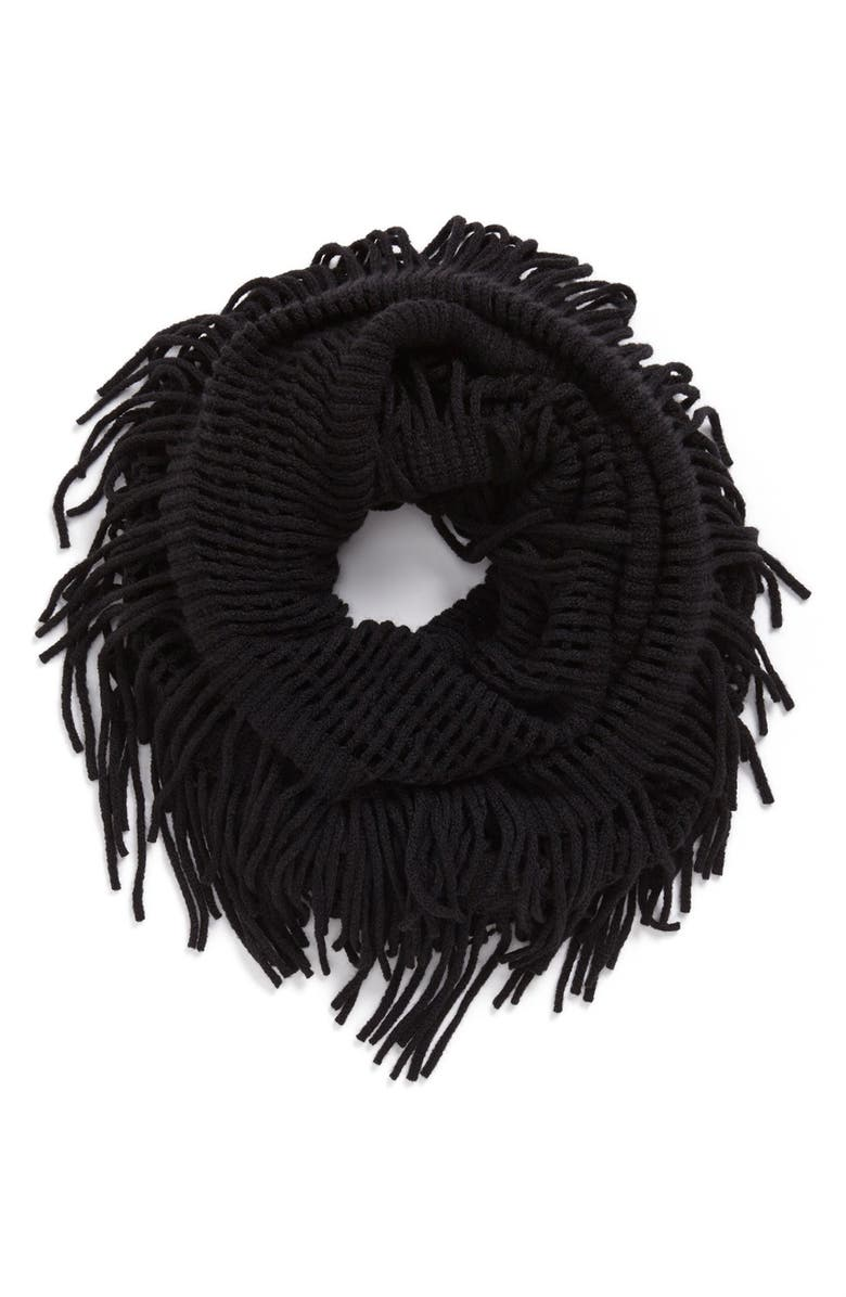DAVID & YOUNG Open Weave Infinity Scarf, Main, color, BLACK