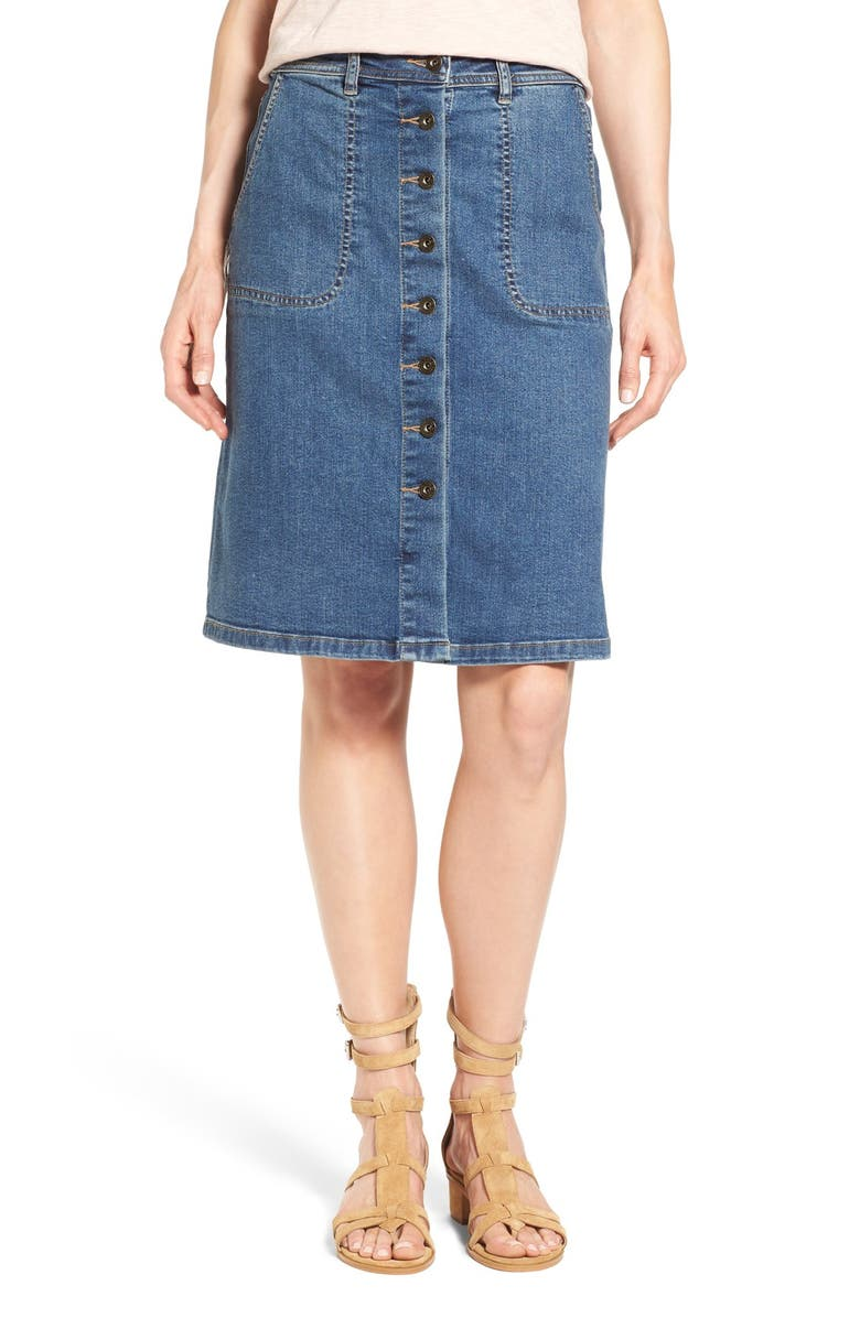TWO BY VINCE CAMUTO Button Front A-Line Denim Skirt, Main, color, AUTHENTIC