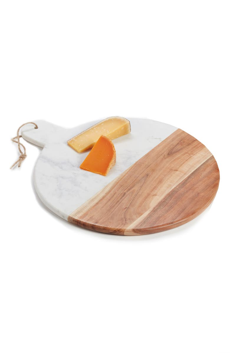 NORDSTROM at Home Round Marble & Acacia Wood Serving Board, Main, color, 100