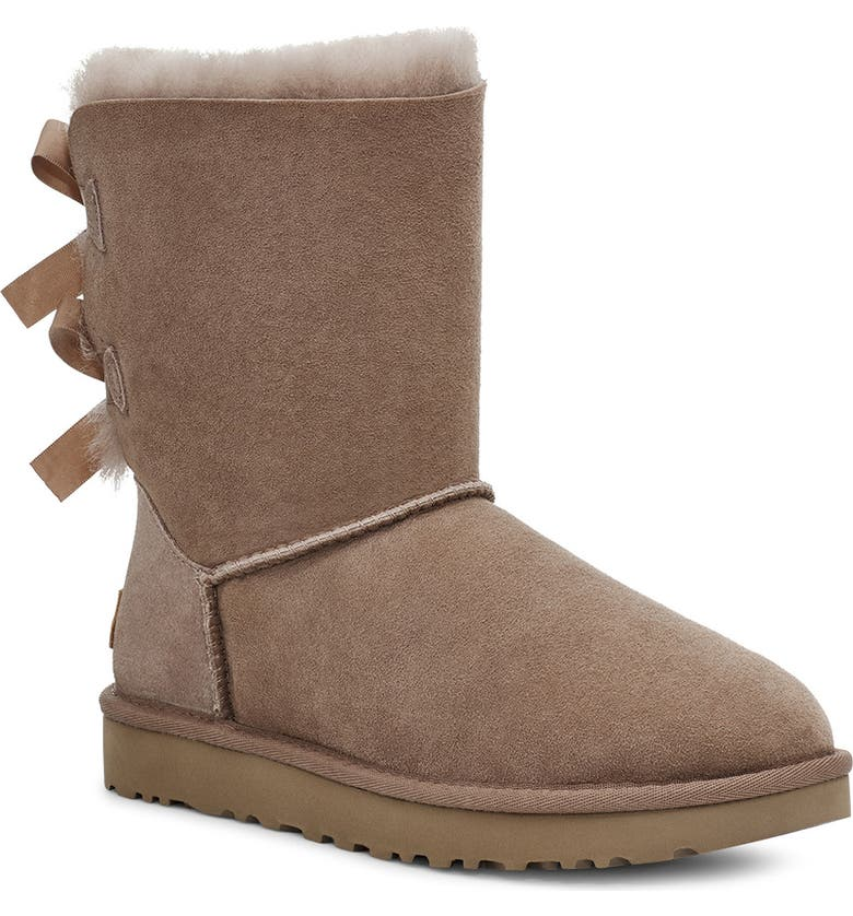 UGG<SUP>®</SUP> Bailey Bow II Genuine Shearling Boot, Main, color, CARIBOU SUEDE