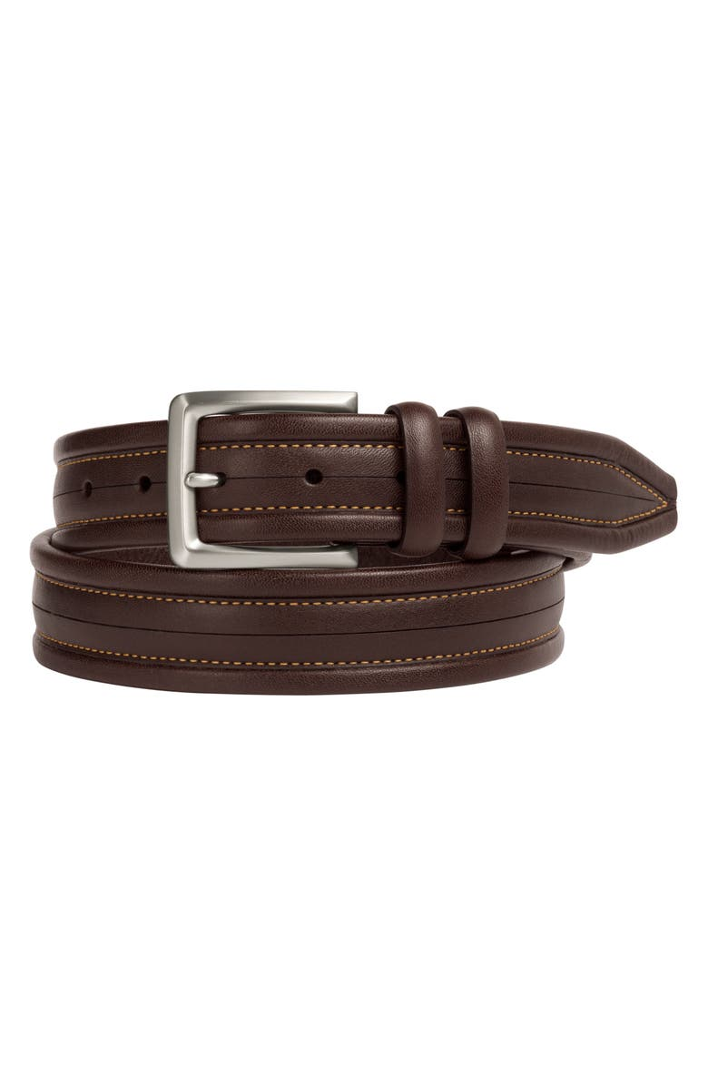 JOHNSTON & MURPHY Center Scored Leather Belt, Main, color, Brown