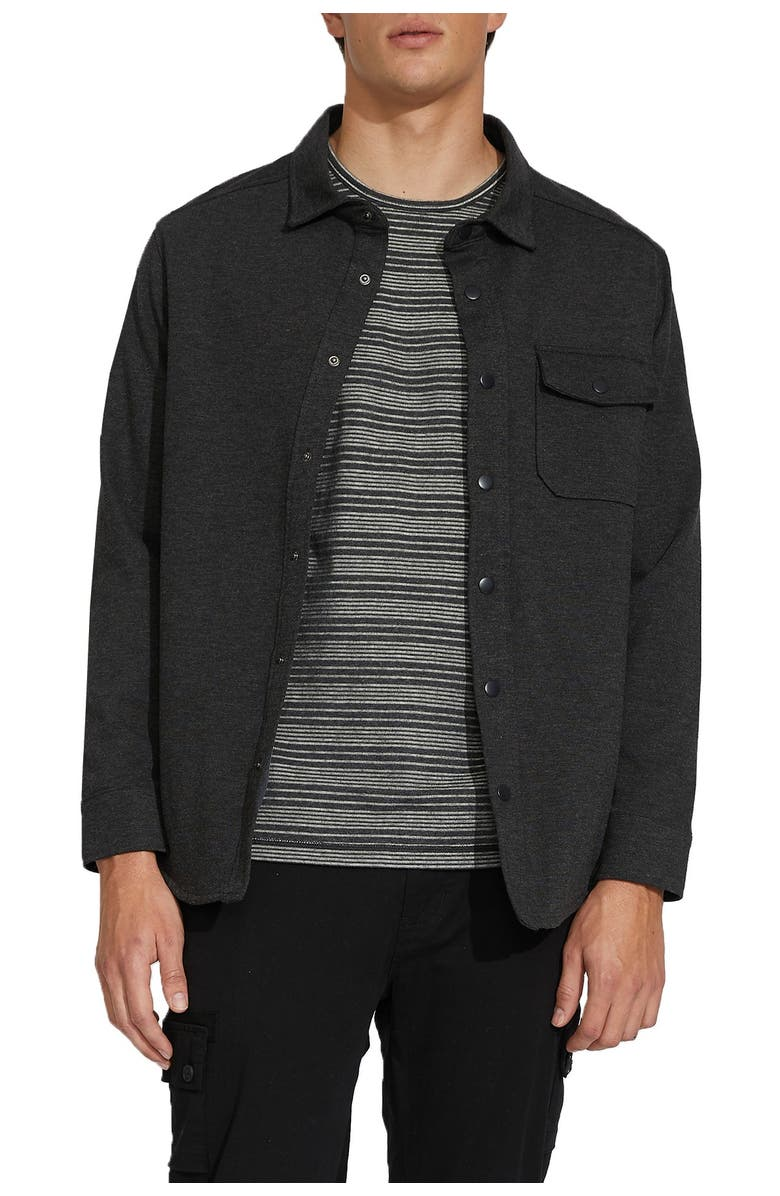 CIVIL SOCIETY Knit Shacket with Liner, Main, color, HTHR CHARCOAL