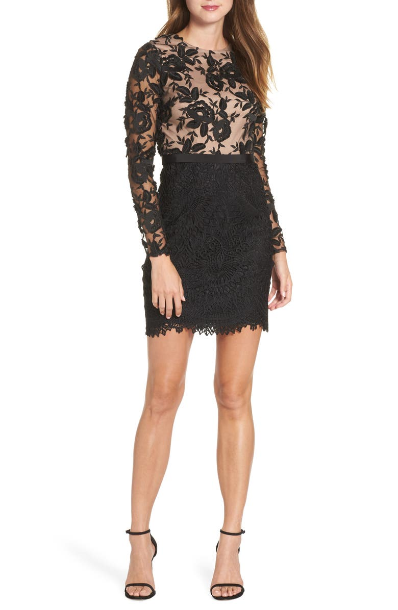 ML MONIQUE LHUILLIER Calypso Long Sleeve Lace Cocktail Dress, Main, color, 001