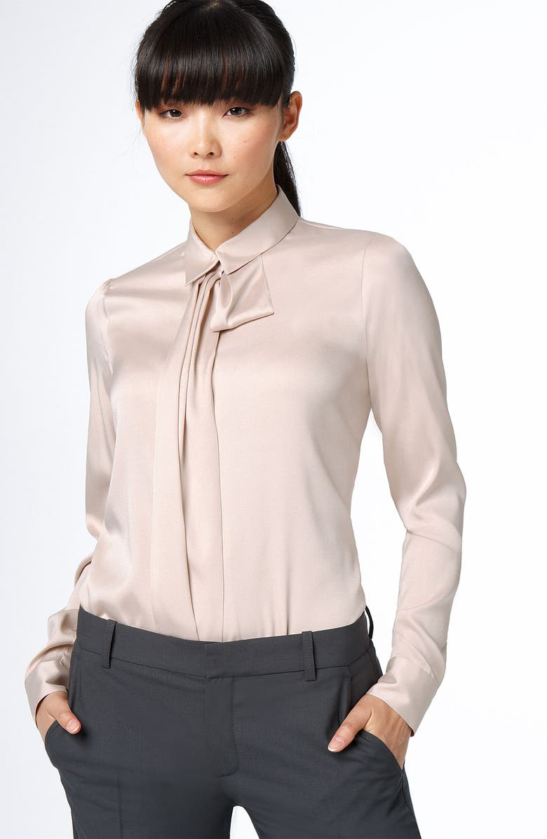 THEORY 'Tessel - Elegance' Tie Neck Blouse, Main, color, 651