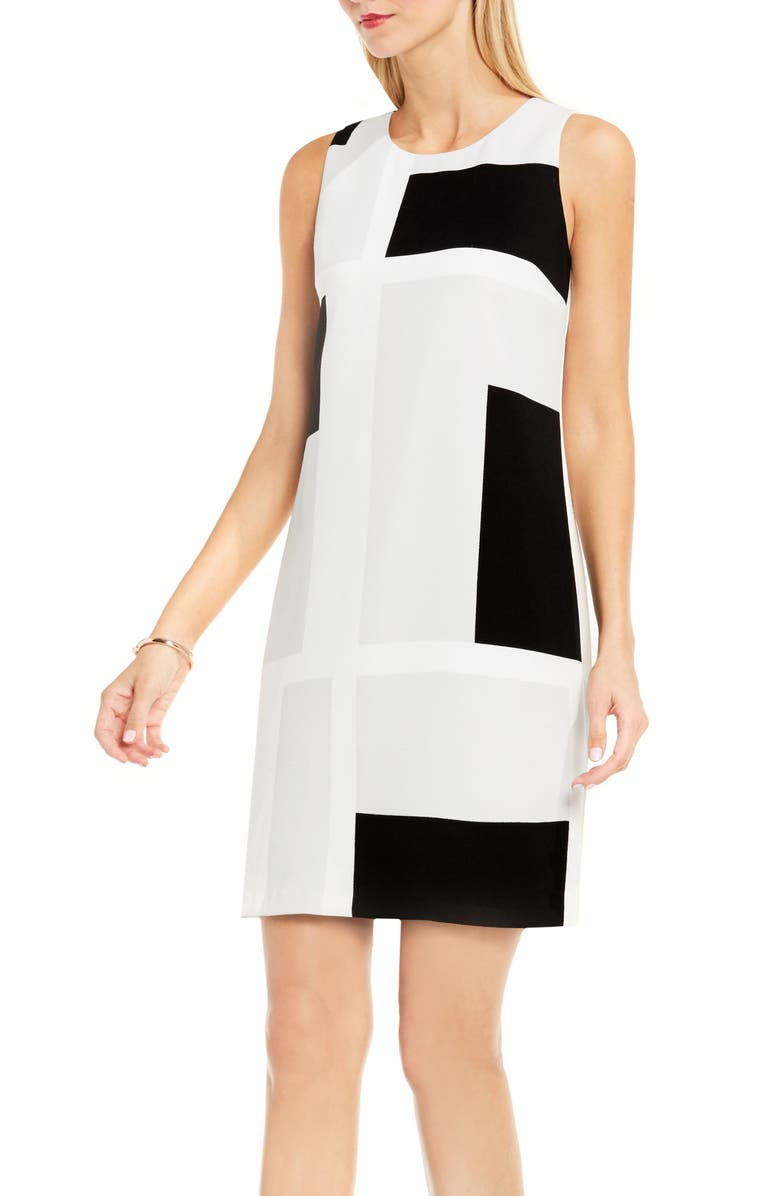 VINCE CAMUTO Graphic Shift Dress, Main, color, 093