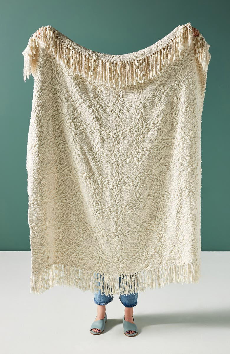 ANTHROPOLOGIE HOME Chenille Throw Blanket, Main, color, IVORY