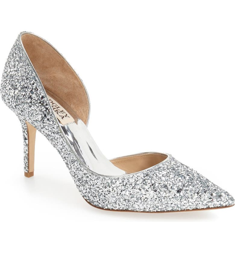 BADGLEY MISCHKA COLLECTION Badgley Mischka Daisy Embellished Pointed Toe Pump, Main, color, SILVER GLITTER FABRIC